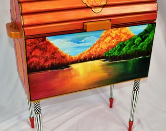 IRIDESCENT ORANGE TRUNK with Beautifully Hand Painted Mural, Striped Legs, Ornate Gold, Black Patterns