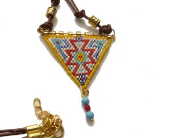 Woven beads and leather long necklace