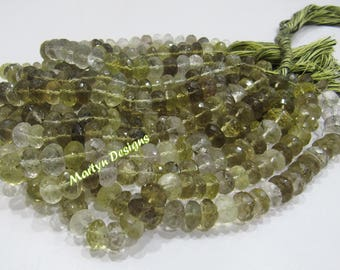 100 Percent Real Natural Bio Lemon Quartz Beads / Rondelle faceted Beads Size 8-10mm/ Sold per Strand of 10 Inches Long/ Far Size Beads