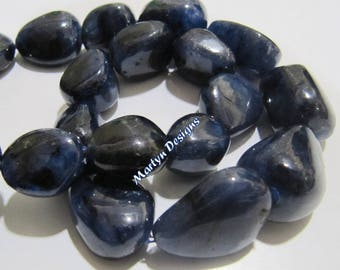 Pack of 10 Beads- Best Quality Blue Sapphire Nugget Beads 12 to 20mm / Natural Blue Sapphire Tumbled Beads / Precious Gemstone- Birth Stone.