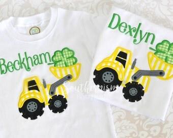 St Patricks Day Shirt! Boys St Patricks Day Shirt, Monogram St Pattys Day Shirt, Personalize St Patricks Day Shirt, construction shirt