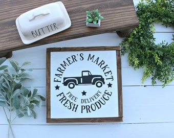 Vintage Truck ~ Farmers Market wood SIgn
