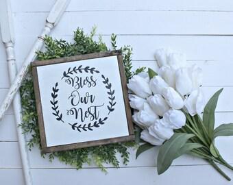 Bless Our Nest Wood sign,farmhouse signs,farmhouse decor,wedding gift ideas,wedding