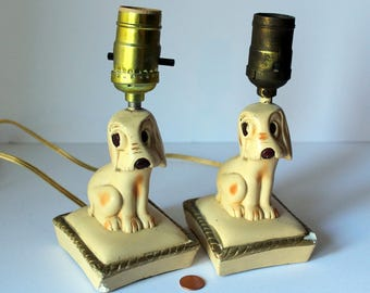 SALE 25% OFF, Art Deco Plaster Boudoir Lamps, Sad Dog Lamps, Shabby Chic, Sad Puppy Lamps, Vintage Lighting, Pair of Lamps, Sold as Pair