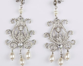 Runway Rhinestone and Simulated Pearl Chandelier Earrings