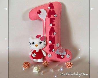 Birthday number,Personalized felt number,pink,baby decor,Hello kitty,Happy Birthday decor,cat,kids photo shoot,Baby shower gift girls,boys
