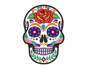 "Sugar skull 2 applique with fill stitch details machine embroidery design- 3 sizes 4x4"", 5x7"", 6x10"""