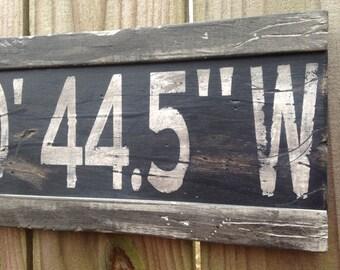 Personalized Latitude Longitude Sign/Custom Longitude Latitude Sign/GPS Coordinates/Wood Coordinates/Gray Latitude Sign/Housewarming Gift
