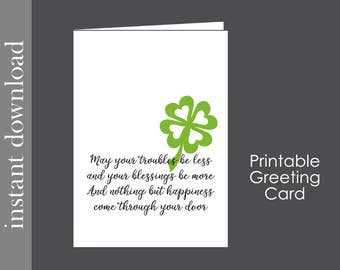 St Patricks Card, Printable Card, St Patricks Blessing, St Patrick's Day, Irish blessing, blessings card, St Patricks download, Irish love