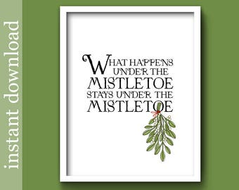 Christmas Wall Art, Mistletoe printable, Christmas printable, Under The Mistletoe, funny Christmas, mistletoe wall art, Christmas foyer art