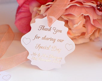 Wedding thank you tags, foiled wedding tags, thank you for sharing our special day tags, wedding favovr tags, thank you wedding cards