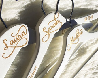 Bridesmaid Hangers, Personalized Bridal Party Hanger, Wedding Bridesmaid Gift, High Quality White Hanger, Custom Wedding Wood Hanger, Gift