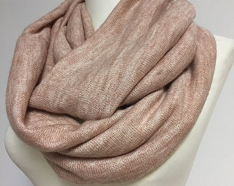 Neutral Infinity Scarf for Spring, Cowl Scarf, Loop Scarf, Cotton Silk Mix, Color Options