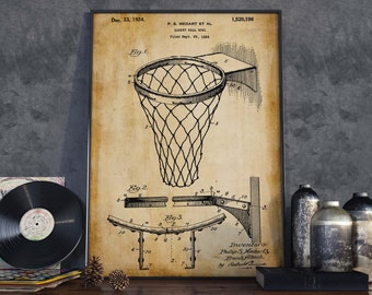 Basketball Goal Patent Print| Gift for Basketball Player| Home Decor| Basketball Poster| HPH364