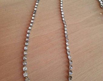 Vintage crystal necklace womens white black