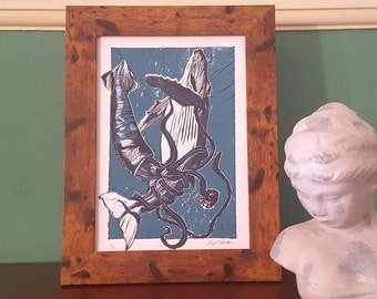 The Squid and the Whale Lino Print