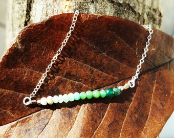 "Bracelet ""dip dye"" opal and emerald green on a sterling silver chain"