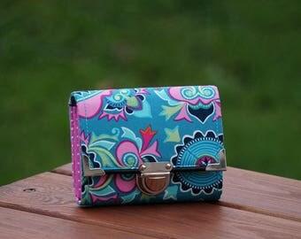 Womens Wallet, 13x10cm, Small Wallet, Fabric Wallet, Women's Wallet, Purse, Amy Butler design fabric