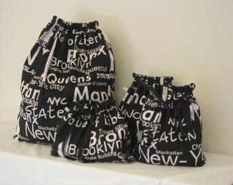 New York Print Set of 4 Cotton Travel Bags, Laundry Bag, Lingerie Bag, Utility Bag, Shoe Bag or Sock Bag.