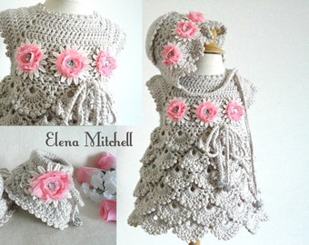 Crochet Baby Dress Set Crochet Baby Bonnet Crochet baby Shoes Crochet Baby Girl Set Baby Shower Crochet Baby PhotoProps Newborn Gift