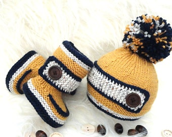 Crochet Baby Boy Set Crochet Baby Shoes Baby Hat Crochet Baby Beanie Baby Boy Winter Set Knitted Baby Set Baby Booties Baby Shoes