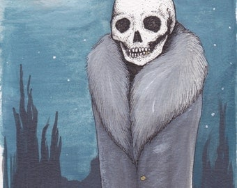Chilled to the Bone - 5x7 Fine Art Print, 2017. Stylish Winter Skeleton, smiling skull in the snowstorm.