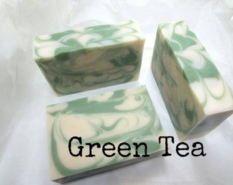 SOAP- Green Tea Artisan Soap, Mild Soap, Cold Process, Vegan Soap, FREE SHIPPING