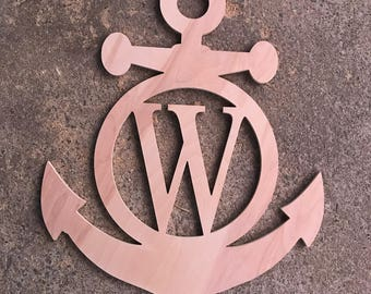 Fast Shipping - Anchor with Initial  Door Wooden Unfinished Anchor Front Door Hanger