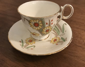 Delphine Bone China Made in Englad Tea Cup and Saucer