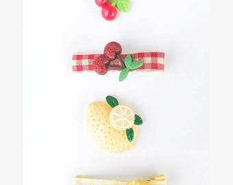 Summer Picnic Party Fun Hair Clip Set- 4 Piece Set