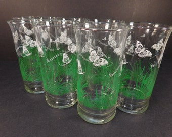 Vintage White Butterflies and Grass Drinking Glasses, Set of 8, Retro Kitchen
