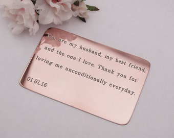 Wallet Card Insert, Copper, mirror polish finish, custom engraved, Anniversary,  Husband, Boyfriend, Birthday,  Wedding, Love, Poem, Lyrics