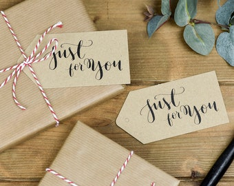 Just For You Calligraphy Gift Tags - pack of 5