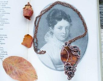 Agate Pendant, Brown Pendant, brown agate necklace,   Unique Jewelry, Copper Pendant, Wire wrapped pendant, wire wrapped jewelry,