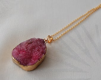 Necklace druzy agate