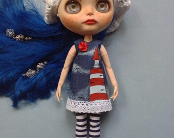 Blythe denim dress with hand drawing ( lighthouse) and crochet beret.