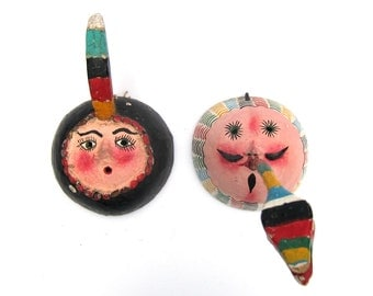 Hand-Painted Mexican Folk-Art Coconut Masks