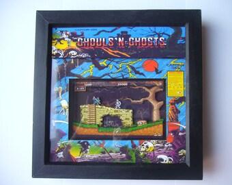 Ghouls n Ghosts  Arcade 3D shadow box diorama art framed pixel art