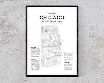 Chicago map print, Map Wall Art, Chicago map wall art, Chicago wall art, Chicago poster, Chicago map poster, Black and White print