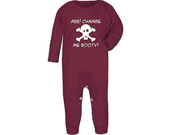 Arr Change Me Booty Hidden Treasure Pirate Skull And Crossbones Funny Baby Rompersuit All In One