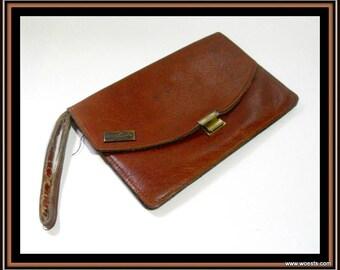 Vintage Italian cognac colored leather clutch / bag / purse.