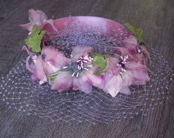 Vintage Purple Floral Fascinator with Netting