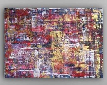 Gold Red Large Abstract painting Original Acrylic painting on canvas Modern painting Colorful abstract painting Wall decor 35x24