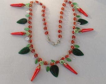 Glass Chili Pepper and Leaf Necklace