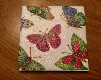 Rainbow Butterflies Ceramic Tile Coasters (set of 4)
