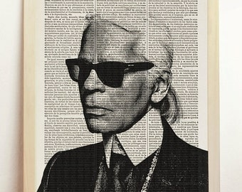 Karl Lagerfeld Print Fashionista Poster Black White Fashion Icon Illustration Engraving Art Upcycled Decor Book Dictionary