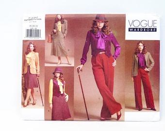 Vogue Wardrobe Sewing Pattern 2490 Misses' Jacket Vest Blouse Skirt Pants 18-22