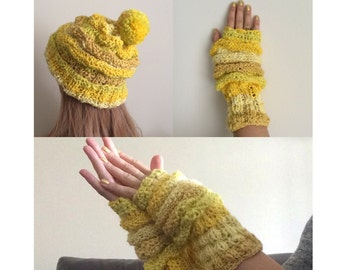 Knit winter hat and mittens set.Knit chunky hat.Yellow winter hat.Fingerless gloves.Slouchy Pom pom beanie.Wool mittens.FREE SHIPPING US