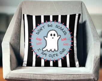 Ghost Throw Pillow | Ghost Pillow Cover | Ghost Cushion | Ghost Decoration | Ghost Décor | Ghost Pillow | Ghost Pillow Case