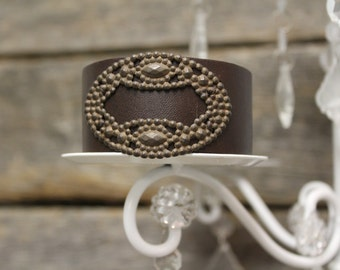 Leather Cuff with Brass Steel Cut Stamp